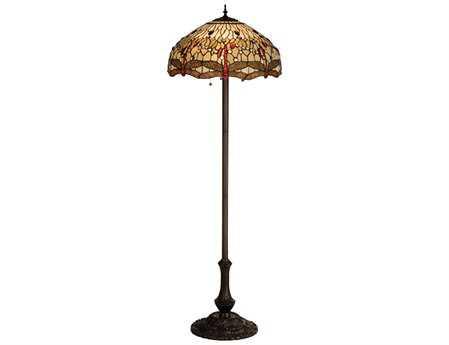 Meyda Tiffany Hanginghead Dragonfly Multi-Color Floor Lamp