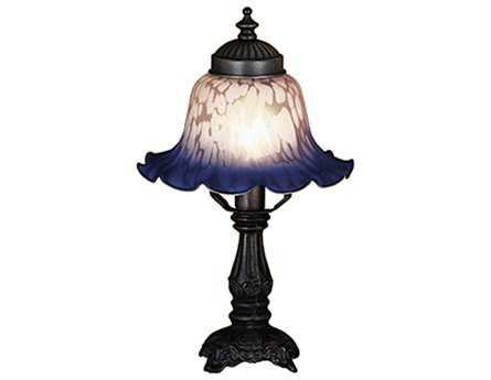 Meyda Tiffany Bell White & Blue Mini Lamp