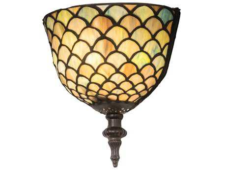 Meyda Lighting Tiffany Fishscale Blue 8'' Wide Wall Sconce