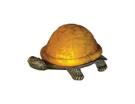 Meyda Tiffany Turtle Art Glass Yellow Accent Table Lamp