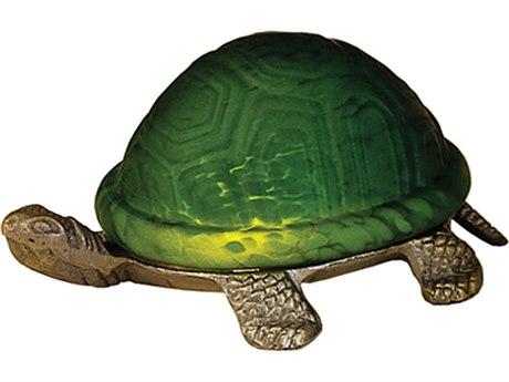 Meyda Tiffany Turtle Art Glass Green Accent Table Lamp