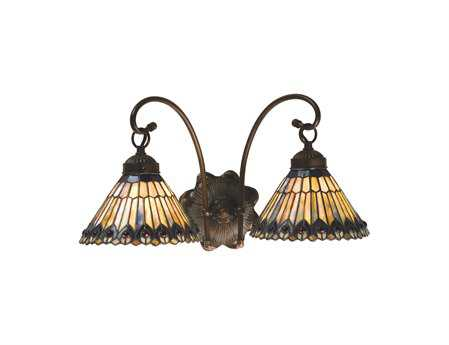 Meyda Tiffany Jeweled Peacock Two-Light Wall Sconce
