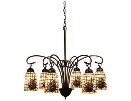 Meyda Tiffany Pine Barons Six-Light 27 Wide Chandelier