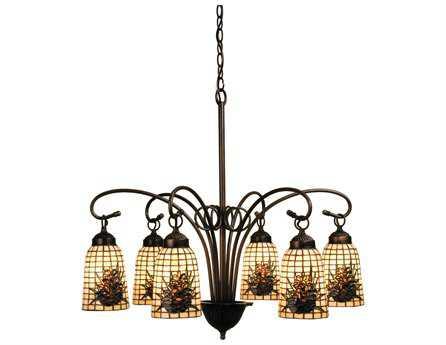 Meyda Tiffany Pine Barons Six-Light 27 Wide Chandelier