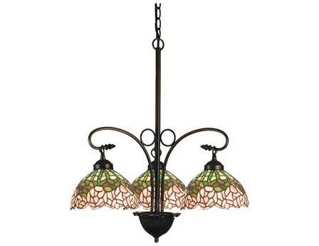 Meyda Tiffany Cabbage Rose Three-Light 24 Wide Grand Chandelier