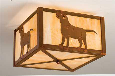 Meyda Tiffany Labrador Retriever Two-Light Flush Mount Light