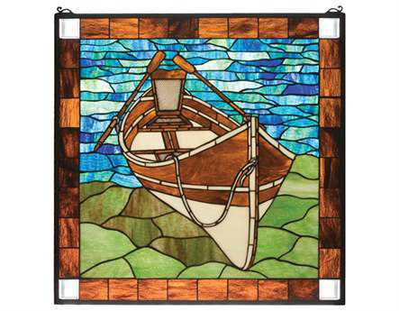 Meyda Tiffany Beached Guideboat Stained Glass Window
