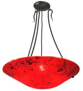 Meyda Tiffany Luce Rossa Fused Glass Three-Light Semi-Flush Mount Light