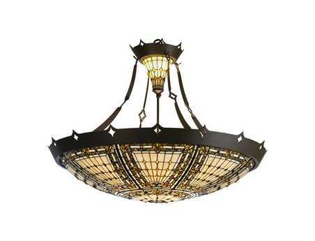 Meyda Tiffany Fleur-De-Lis Inverted Six-Light Pendant
