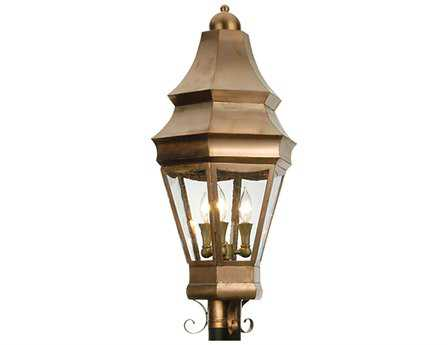 Meyda Tiffany Statesboro Raw Copper Three-Light Outdoor Post Mount Light