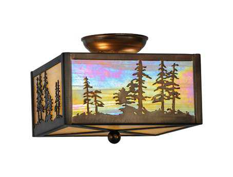 Meyda Tiffany Tall Pines Two-Light Flush Mount Light