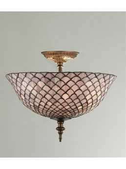 Meyda Tiffany Fishscale Three-Light Flush Mount Light