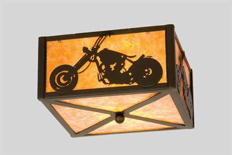 Meyda Tiffany Motorcycle Two-Light Flush Mount Light