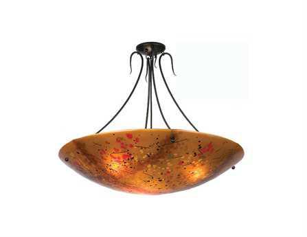 Meyda Tiffany Biscotti Fused Glass Three-Light Semi-Flush Mount Light
