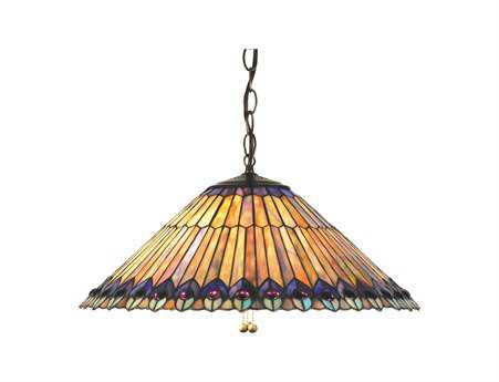 Meyda Tiffany Jeweled Peacock Three-Light Pendant