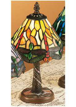 Meyda Tiffany Hanginghead Dragonfly with Twisted Fly Mosaic Base Multi-Color Mini Table Lamp