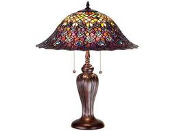 Meyda Tiffany Peacock Feather Multi-Color Buffet Lamp