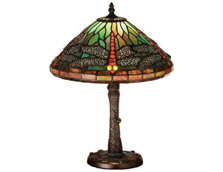 Meyda Tiffany Dragonfly with Twisted Fly Mosaic Base Multi-Color Accent Table Lamp