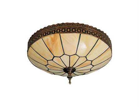 Meyda Tiffany Vincent Honeycomb Three-Light Flush Mount Light
