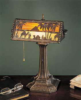 Meyda Tiffany Camel Mission Multi-Color Banker's Lamp