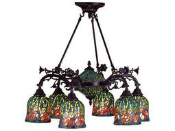 Meyda Tiffany Red Rosebud 6 Arm 2 Tier Eight-Light 29 Wide Chandelier