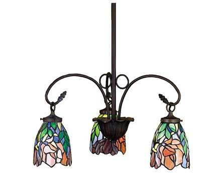 Meyda Tiffany Iris Three-Light 21 Wide Chandelier