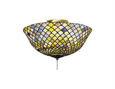 Meyda Tiffany Fishscale Three-Light Flush Mount Light