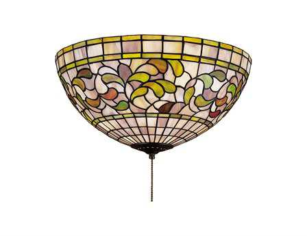 Meyda Tiffany Turning Leaf Three-Light Flush Mount Light