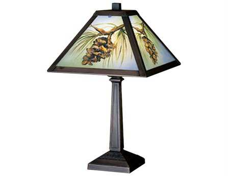 Meyda Tiffany Northwood's Pinecone Hand Painted Multi-Color Accent Table Lamp