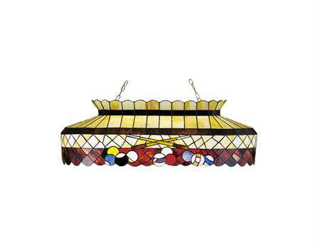 Meyda Tiffany Burgundy Billiard Oblong Six-Light Pendant
