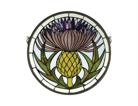 Meyda Tiffany Thistle Medallion Stained Glass Window