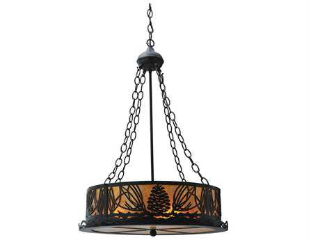 Meyda Tiffany Mountain Pine Inverted Three-Light Pendant