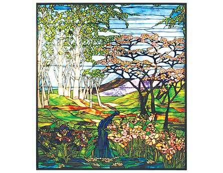 Meyda Tiffany Waterfall Iris & Birch Stained Glass Window