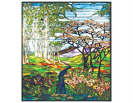 Meyda Tiffany Waterfall Iris & Birch Stained Glass Window