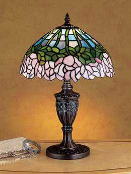 Meyda Tiffany Cabbage Rose Multi-Color Accent Table Lamp