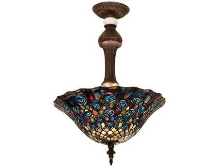 Meyda Tiffany Peacock Feather Three-Light Semi-Flush Mount Light