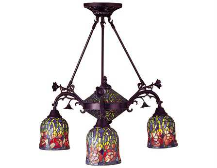 Meyda Tiffany Red Rosebud 3 Arm Five-Light 29 Wide Chandelier