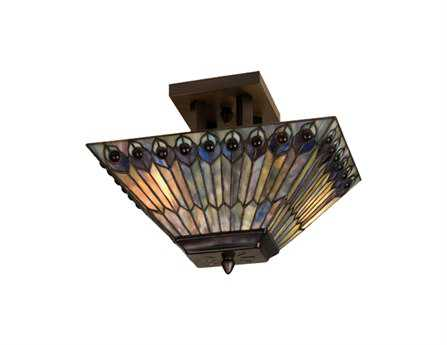 Meyda Tiffany Jeweled Peacock Two-Light Oblong Flush Mount Light