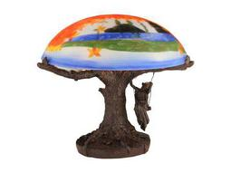 Meyda Tiffany Maxfield Parrish Reveries Reverse Painted Multi-Color Table Lamp