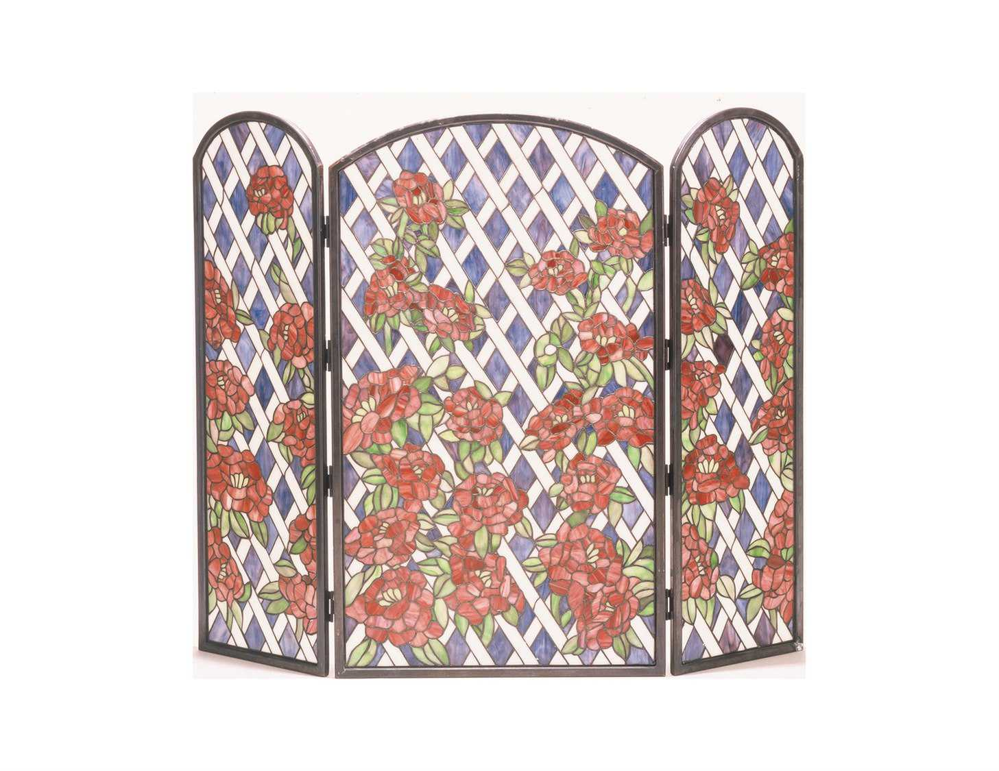 Meyda Tiffany Rose Trellis Folding Fireplace Screen My35744