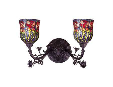 Meyda Tiffany Red Rosebud Two-Light Wall Sconce