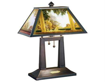Meyda Tiffany Maxfield Parrish Daybreak Porcelain Lithophane Multi-Color Table Lamp
