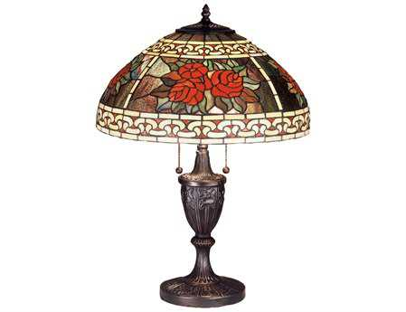 Meyda Tiffany Roses & Scrolls Multi-Color Buffet Lamp