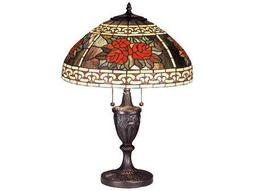Meyda Tiffany Roses & Scrolls Multi-Color Buffet Lamp