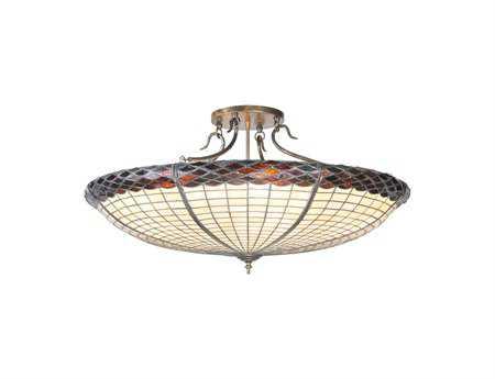 Meyda Tiffany Greenbriar Oak Six-Light Semi-Flush Mount Light