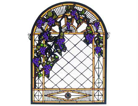 Meyda Tiffany Grape Diamond Trellis Stained Glass Window