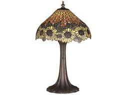 Meyda Tiffany Wicker Sunflower Multi-Color Accent Table Lamp