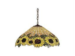 Meyda Tiffany Wicker Sunflower Three-Light Pendant
