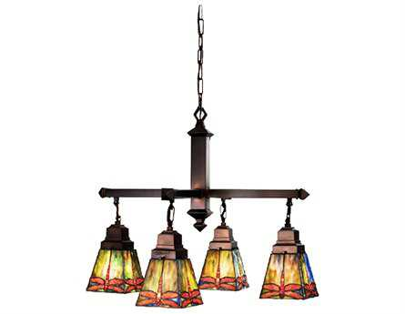 Meyda Tiffany Prairie Dragonfly Four-Light 26 Wide Grand Chandelier