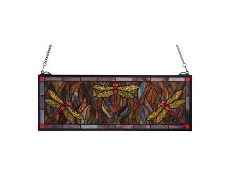 Meyda Tiffany Dragonfly Trio Stained Glass Window